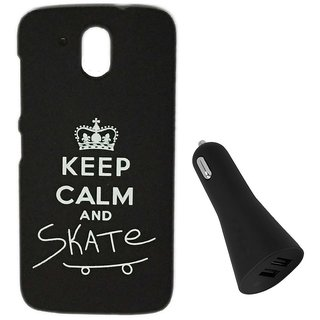 YGS Printed Matte Back Cover Case For HTC Desire 526 -Black With Black Dual Port Car Charger