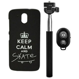 YGS Printed Matte Back Cover Case For HTC Desire 526 -Black With Selfie Stick and  Bluetooth Remote