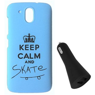 YGS Printed Matte Back Cover Case For HTC Desire 526 -Blue With Black Dual Port Car Charger