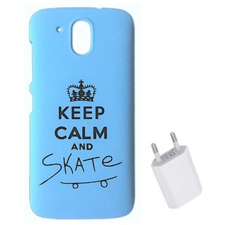 YGS Printed Matte Back Cover Case For HTC Desire 526 -Blue With Flat Wall Charger