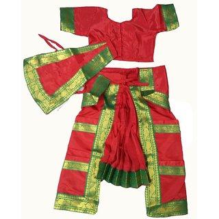 Bharatanatyam Dance Dress Ready Made Red Color Costume