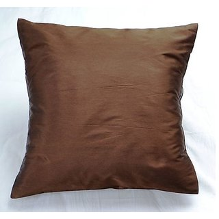 Silk Taffeta Plain Cushion - Brown Cover 1Pc  Td-1528