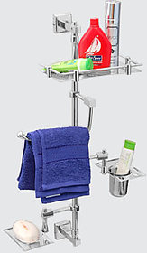 Utility Stand for Bathroom (includes Shelf, Towel Ring, Glass Tumbler, Soap Dish) All-in-1