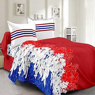 Valtellina Cotton Floral Red Double Bedsheet with 2 Contrast Pillow Covers(TC-129)