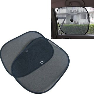 Set of 2 Pair (4 Pieces)- Foldable Car Window Sun Shade Sunshade Mesh Type