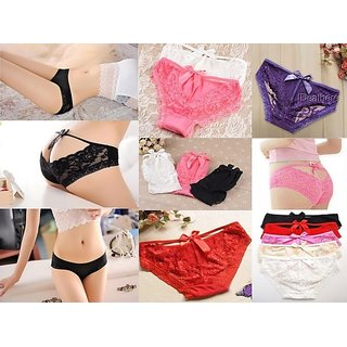 Imported Lace-Womens Bowback Knot soft lace/Cotton panties/underwear/Thong- 3 Qty