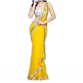 Stylzone Yellow Georgette Embroidered Saree Without Blouse