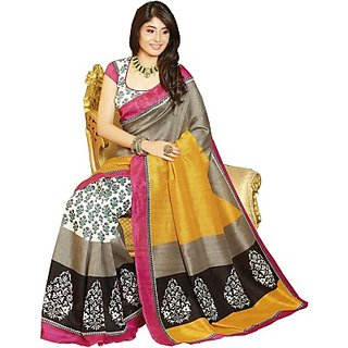 B Style Bhagalpuri Multi Colour Printed Saree With Blouse