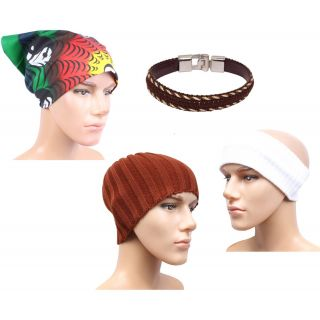 Sushito Ear Warmer Cap With Woolen Head Band With With Stylish Headwrap  Wrist Band  JSMFHCP1460-JSMFHWB1013-JSMFHHR019