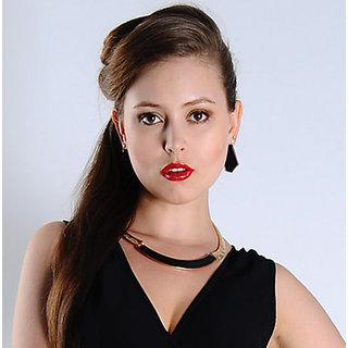 Shining Diva Non Plated Black Necklace Set For Women-CFJ4825np