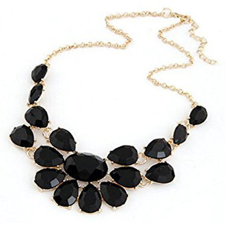 Shining Diva Non Plated Black Necklace Set For Women-CFJ6126np