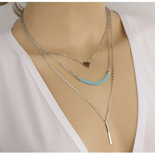 Shining Diva Non Plated Blue Necklace Set For Women-CFJ6887np