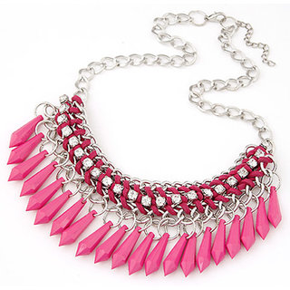 Shining Diva Non Plated Pink Necklace Set For Women-CFJ7060np