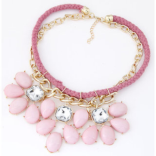 Shining Diva Non Plated Pink Necklace Set For Women-CFJ7124np