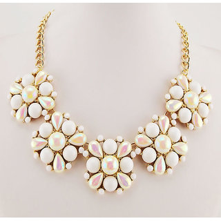 Shining Diva Non Plated White Necklace Set For Women-CFJ7297np