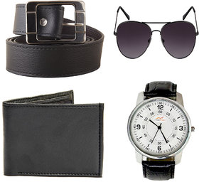 Fast Fox Belt ,Wallet And Watch Combo (Set Of 4)