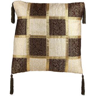 Plush Plaza Golden Cotton Maharaja Cushion Covers - Pack of 2