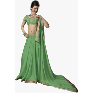 Subhash Daily Wear Green Color Chiffon Saree/Sari