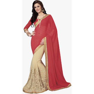 Subhash Daily Wear Red and Beige Color Chiffon and Georgette Saree/Sari