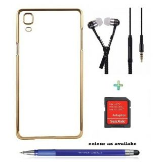Transparent Back Cover For VIVO V3 MAX (Transparent  GOLDEN) With ZIPPER Earphone,SD CARD ADAPTER  Stylus Pen