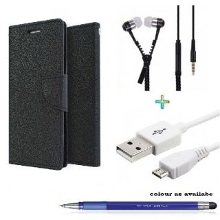 Wallet Cover for SAMSUNG MEGA5.8 9150 (BLACK)With ZIPPER Earphone,USB CABLE  Stylus Pen