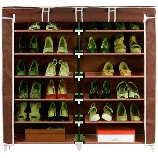 HomeBasics 6 Layer Double Shoe Rack Organizer Polyester Standard Shoe Rack Multicolor