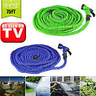 HomeBasics 75 Ft /22.5 M Extra Long Magic Expandable Garden Hose With 7 Speed Spray Gun Multicolor