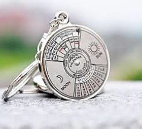 50 Years Calender Date Month Year Day Time Compass Keychain Keyring For Key Ring