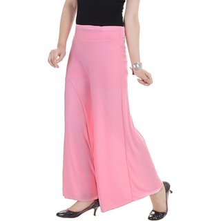 @rk New Fashion Causal ,Summer,Party wear ,daily use  Baby Pink Color Summer Palazzo Pants ,Plazzo Trousers for ladies