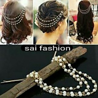 Combo of 24k Gold Plated 'Pearl Head Chain' For Diff. Hair Style and 22Inch 'Neck Chain' With 1 Year Re-Plating Warranty