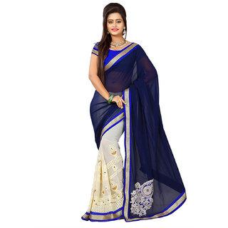 Y2KShop Blue  White Saree 1