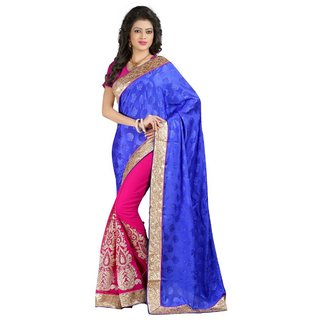 MUTA Blue Coloured Georgette Embriodered Saree/Sari