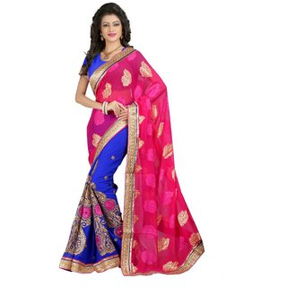 MUTA Pink Coloured Jacquard Embriodered Saree/Sari