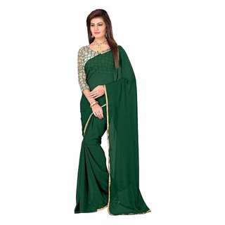 MUTA Green Coloured Georgette Plain Saree/Sari