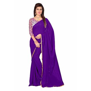 MUTA Purple Coloured Georgette Plain Saree/Sari