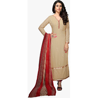 Shopeezo Chikoo Colored Georgette Un-stitched Dress Material