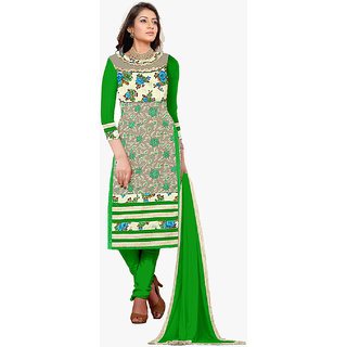Shopeezo Green and Multi Colored Net Bhagalpuri and Georgette Un-stitched Dress Material