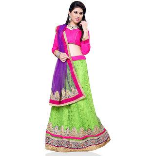 Manvaa Women Jacquard Lehenga Choli(GreenASNB4040AFree Size)