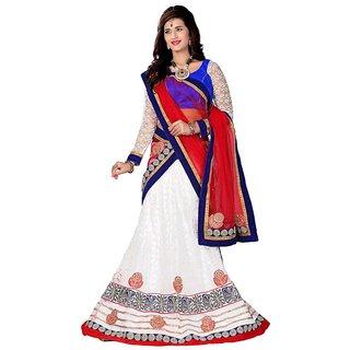 Manvaa Women Jacquard Lehenga Choli(WhiteASNB4048AFree Size)