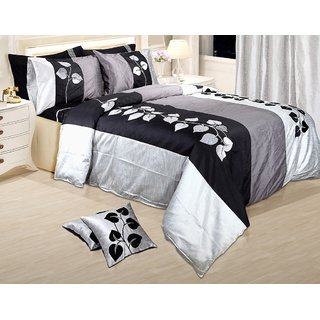 Adah Leaf Applique Black Duvet Set