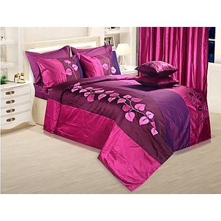 Adah Leaf Applique Plum Duvet Set