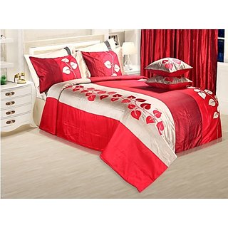 Adah Leaf Applique Red Duvet Set