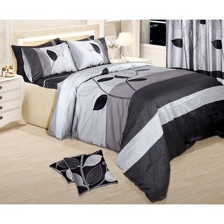 Adah Leaf Trail Black Duvet Set