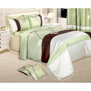 Adah Leaf Trail Green Duvet Set