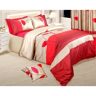 Adah Leaf Trail Red Duvet Set