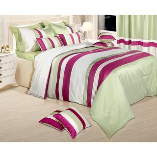 Adah Lurex Pleat Green Duvet Set