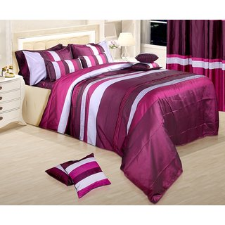 Adah Lurex Pleat Plum Duvet Set