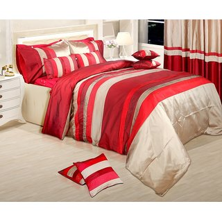 Adah Lurex Pleat Red Duvet Set