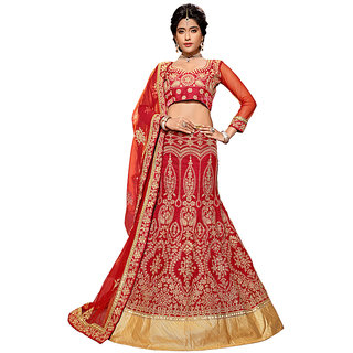 Manvaa Red Colour Banglore Silk Lehenga Choli With Dupptta