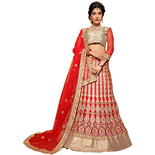 Manvaa Red Colour Net Lehenga Choli With Dupptta